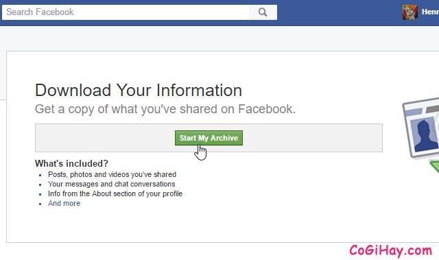 tiến hành tải tin nhắn cũ Facebook