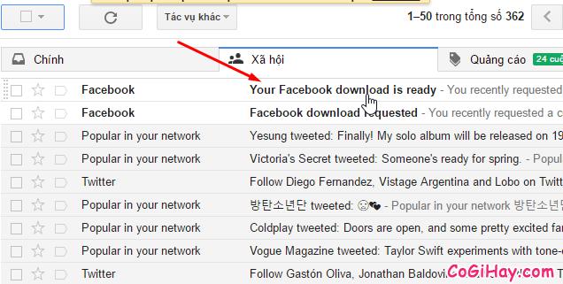 tải dữ liệu facebook qua email