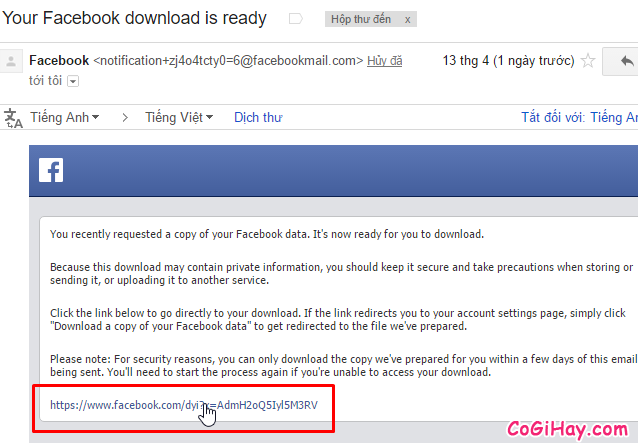 tải dữ liệu facebook về máy