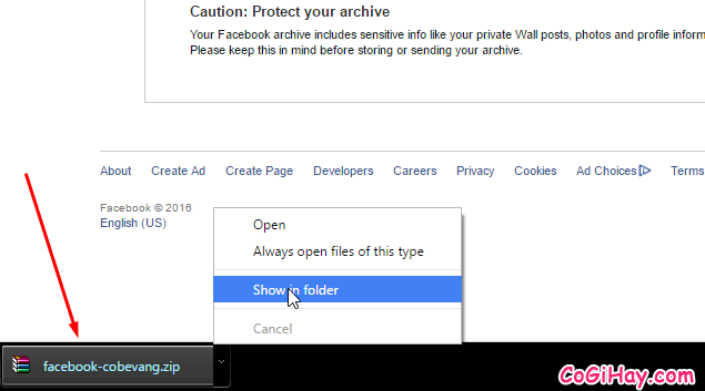 hoàn tất tải dữ liệu Facebook