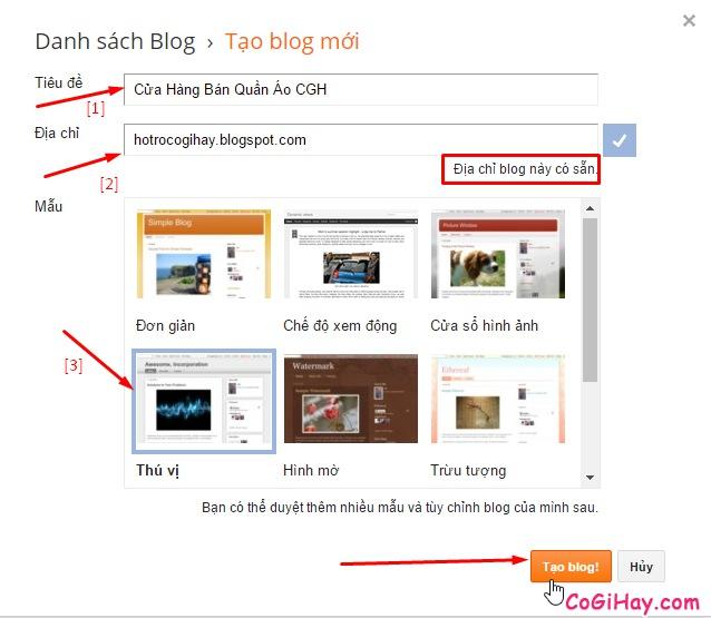 tạo blog miễn phí với Google