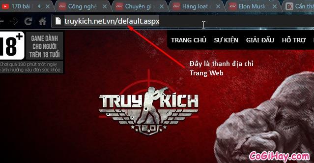 thanh địa chỉ trang web truy kích