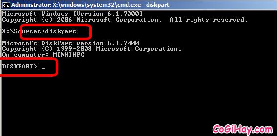 Bật diskpart cài windows 10 64bit