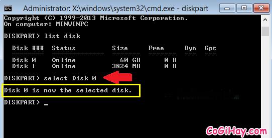 tiến hành chọn ổ đĩa cài windows để chuyển sang gpt