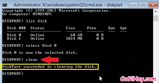 Xóa ổ cứng cài Windows 10