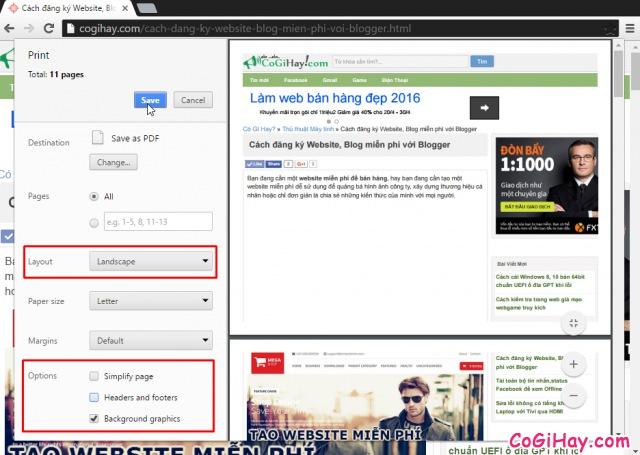 lưu trang web thành file PDF để đọc Offline