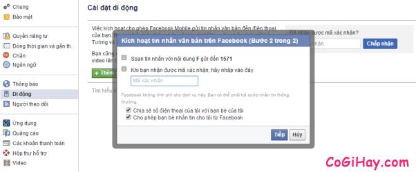 Hình 5 - Cách đăng tin Facebook bằng tin nhắn
