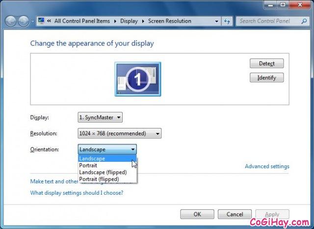 Hình 2 Cách sửa lỗi màn hình xoay ngang cho Laptop