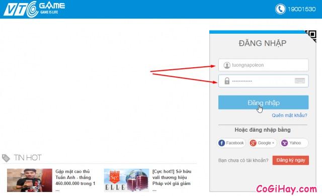 điền tài khoản vtcgame để đăng nhập