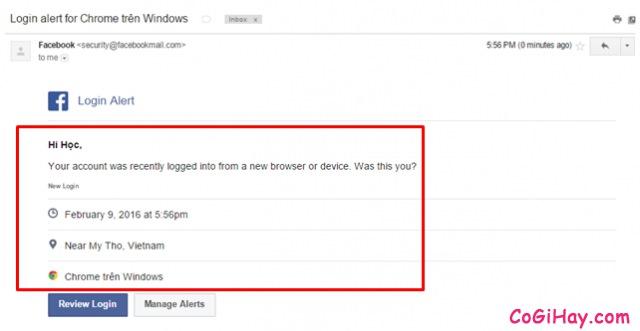 email thông báo đăng nhập Facebook
