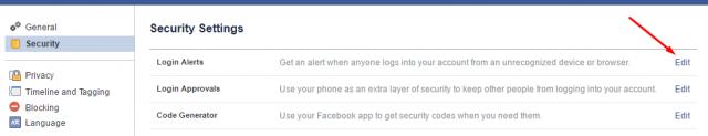 cài đặt thông báo đăng nhập Facebook