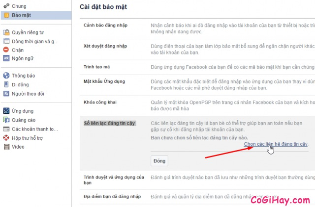 chọn số liên lạc đáng tin cậy để khôi phục Facebook