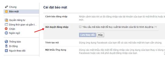 bật xác minh 2 bước cho facebook