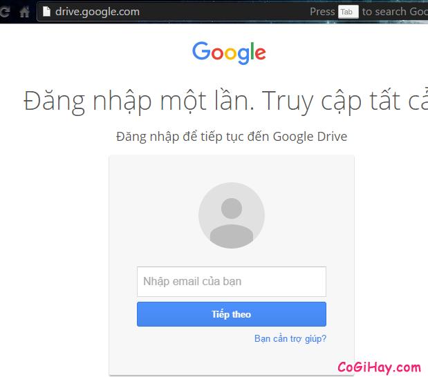 đăng nhập google drive
