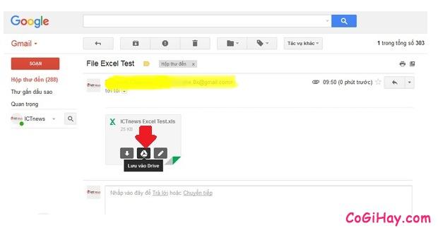 lưu file excel và word từ gmail vào drive để mở cho tiện