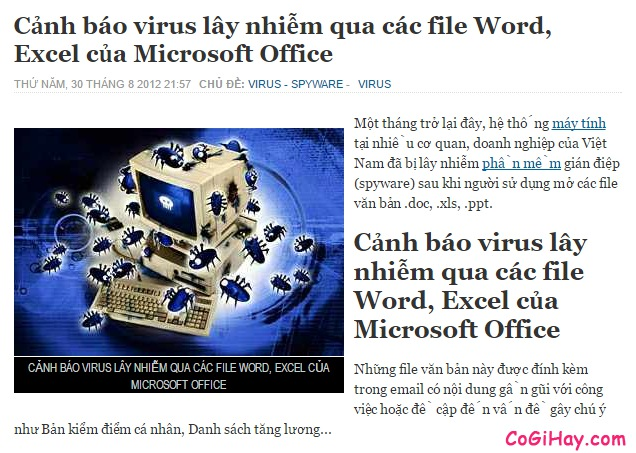 cảnh báo virus lây lan qua word,excel