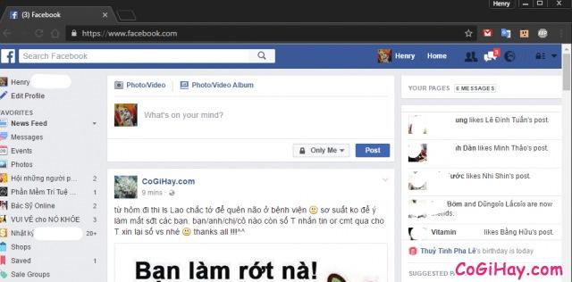 đăng nhập Facebook thành công