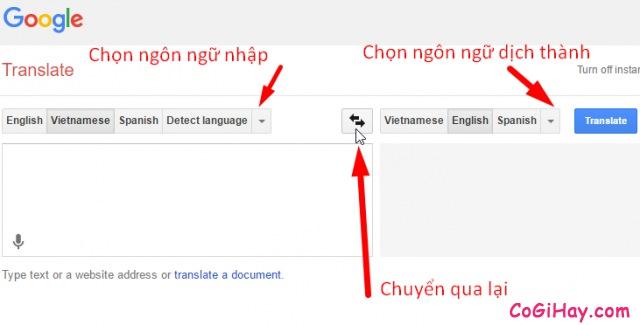 Chọn ngôn ngữ dịch cho Google Translate