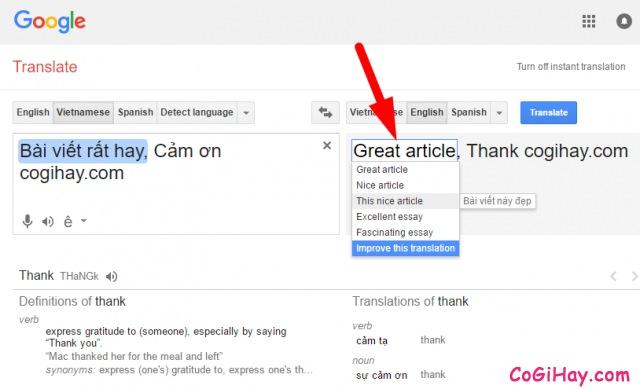 Bạn có thể chỉnh sửa bản dịch tiếng anh cho vừa ý