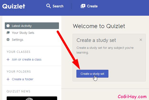 Tạo danh sách từ mới trong Quiznet.com