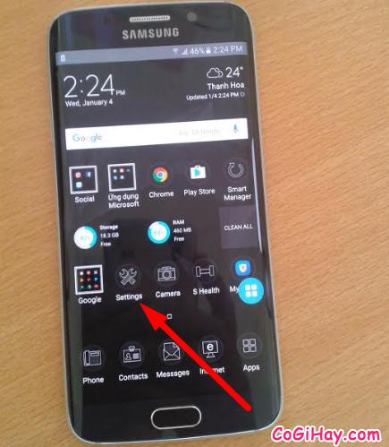 Vào phần cài đặt Samsung Galaxy S6 EDGE