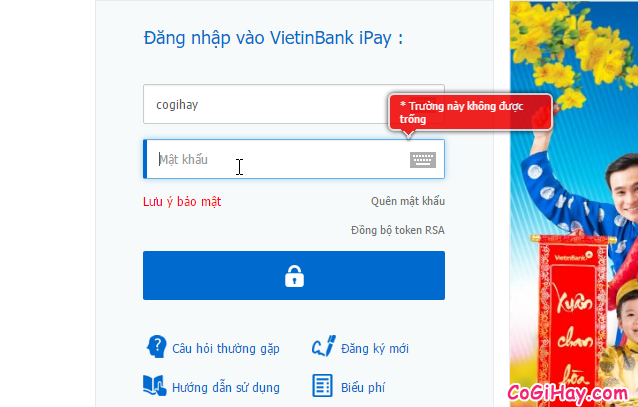 điền thông tin đăng nhập Vietinbank ipay