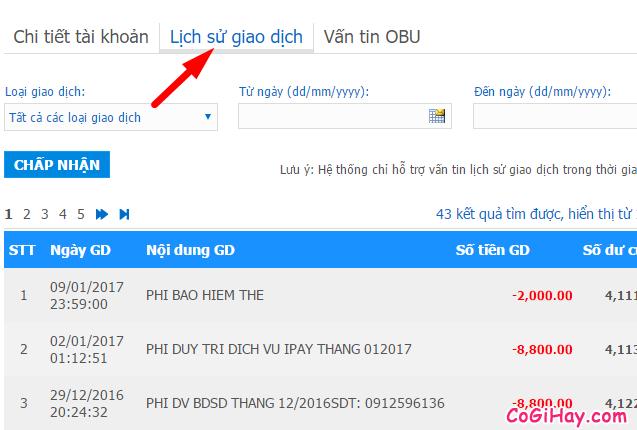 xem danh sách giao dịch vietinbank ipay