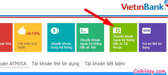 chuyển khoản ngoài ngân hàng bằng vietinbank ipay