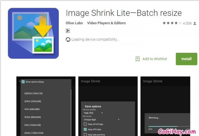 cài đặt Image Shrink Lite