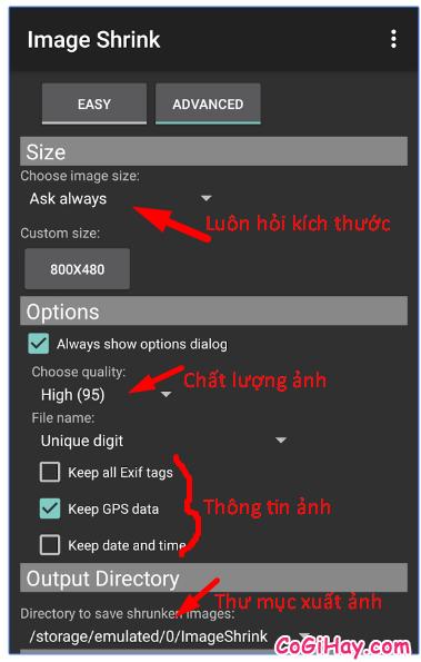 cài đặt thông số mặc định cho chương trình Image Shrink Lite