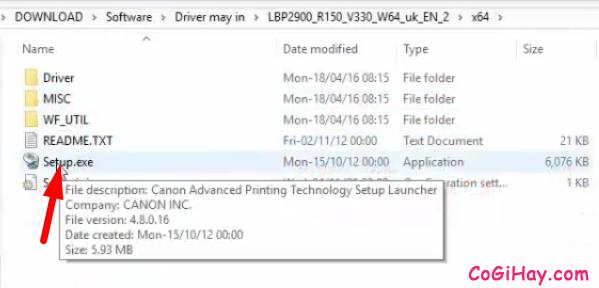 kích đúp file setup.exe để cài canon lbp 2900