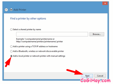 chọn vào Add a local printer or network printer with manual settings