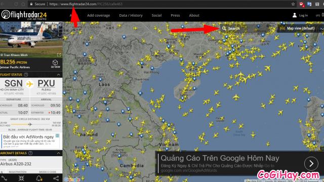 giao diện trang web kiểm tra vị trí máy bay đang bay