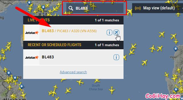 tìm kiếm vị trí chuyến bay bằng số hiệu tàu bay
