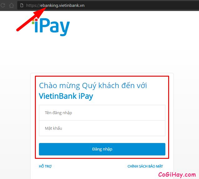Đăng nhập Vietinbank ipay