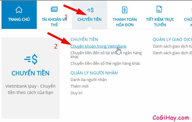 chuyển khoản trong vietinbank ipay