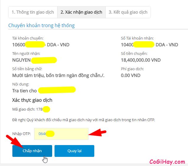 nhập mã xác thực OTP trong vietinbank ipay khi chuyển khoản