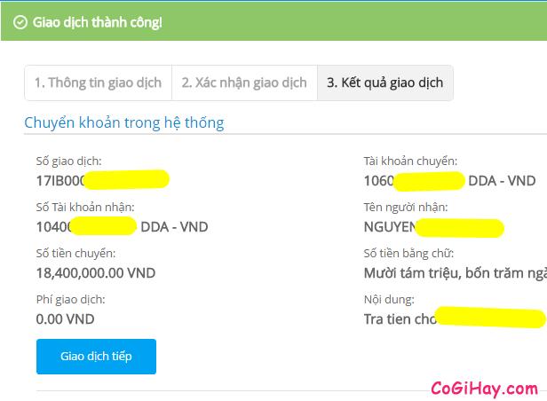 chuyển khoản thành công với ebanking vietinbank ipay
