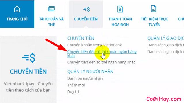 chuyển tiền đến số tài khoản ngân hàng khác từ Vietinbank iPay