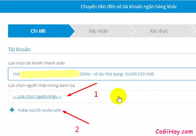 lựa chọn người nhận trong danh bạ Vietinbank ipay