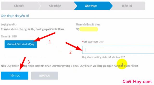 nhận mã xác thực OTP vietinbank