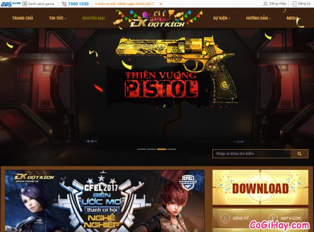 Giao diện trang đăng ký nick game đột kích