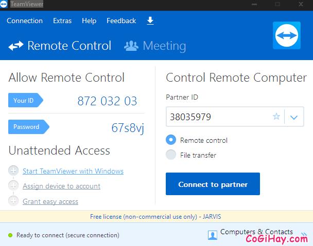 giao diện phiên bản teamviewer portable