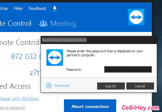 nhập mật khẩu kết nối teamviewer