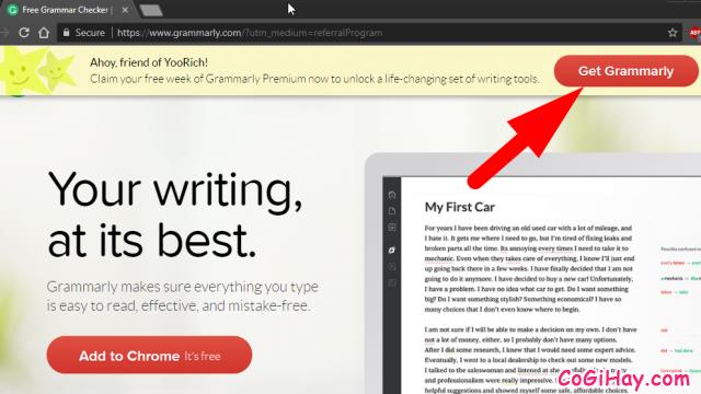 đăng ký tài khoản kiểm tra ngữ pháp, sửa ngữ pháp grammarly