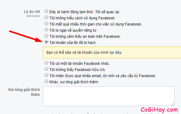 khai báo tài khoản Facebook của tôi đã bị hack