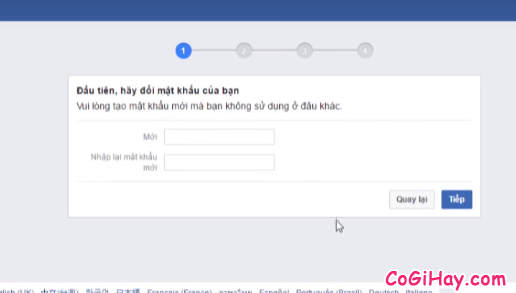 đặt mật khẩu mới cho Facebook