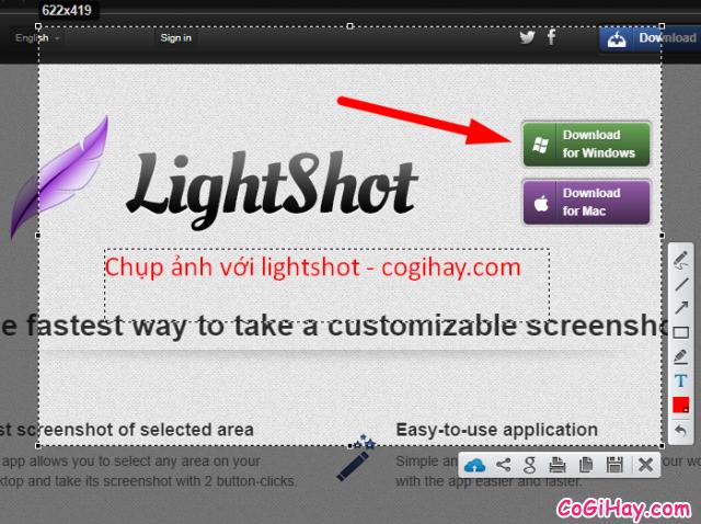 chụp ảnh màn hình với lightshot