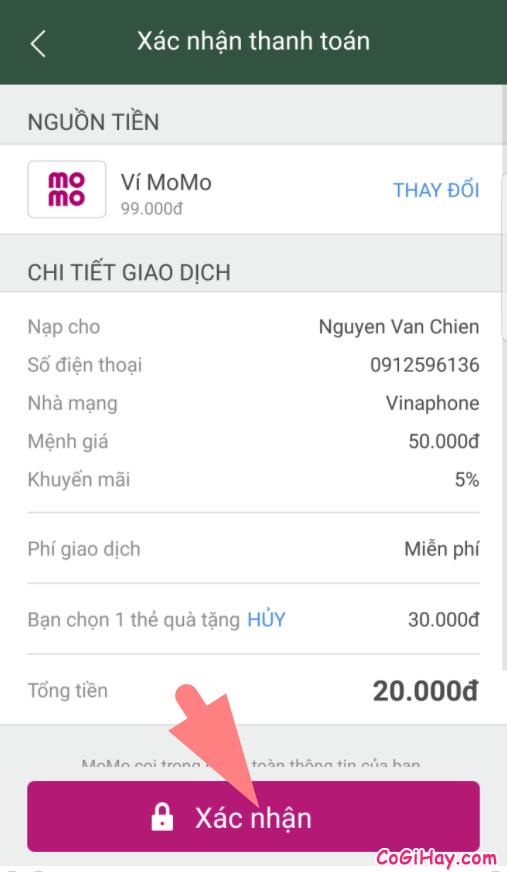 xác nhận nạp thẻ từ ví momo