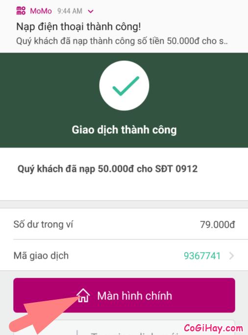 nạp thẻ điện thoại từ ví Momo thành công